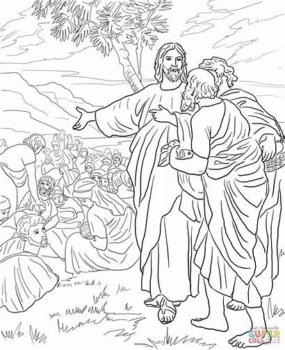 Coloring Jesus Feeds Fish Multitude Bread Pages