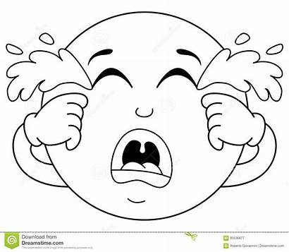 Sad Coloring Crying Emoticon Smiley Emoji Cartoon