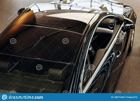 Modern Black Business Car Side Top View Stock Photos 40