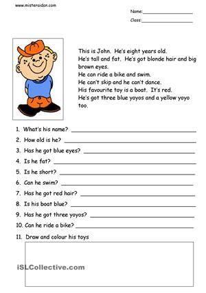 simple reading comprehension worksheets  comprehension
