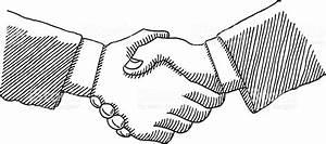 Business Handshake Drawing stock vector art 452358993 | iStock