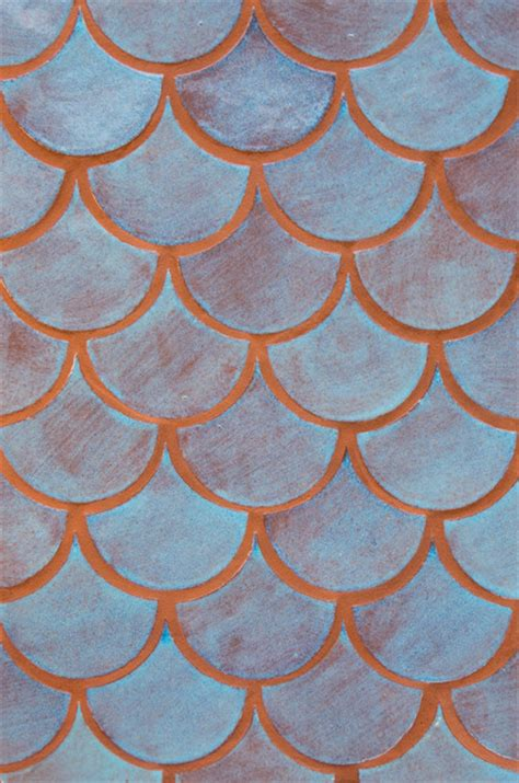 blue bell moroccan fish scales mediterranean tile