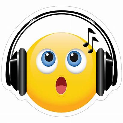 Emoji Singing Headphones Sticker Stickers Clipart Bands