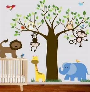Motive Für Babyzimmer : bunte wandgestaltung im babyzimmer dschungel motive ~ Michelbontemps.com Haus und Dekorationen