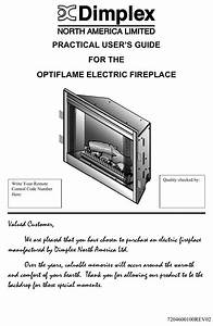 Dimplex Electric Fireplace Users Manual Quick Reference Guide