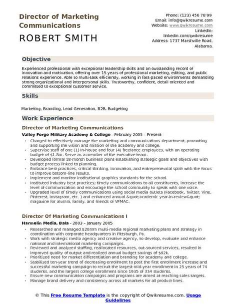 Communications Resume by Director Of Marketing Communications Resume Sles