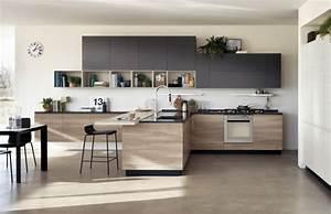 cuisine noire et bois un espace moderne et intrigant With cuisine noire et bois