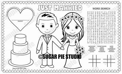 Groom Bride Coloring Instant Printable Placemat Favor