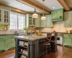 green kitchen ideas country kitchen ideas with black rustic island and chalk painted green cabinet design