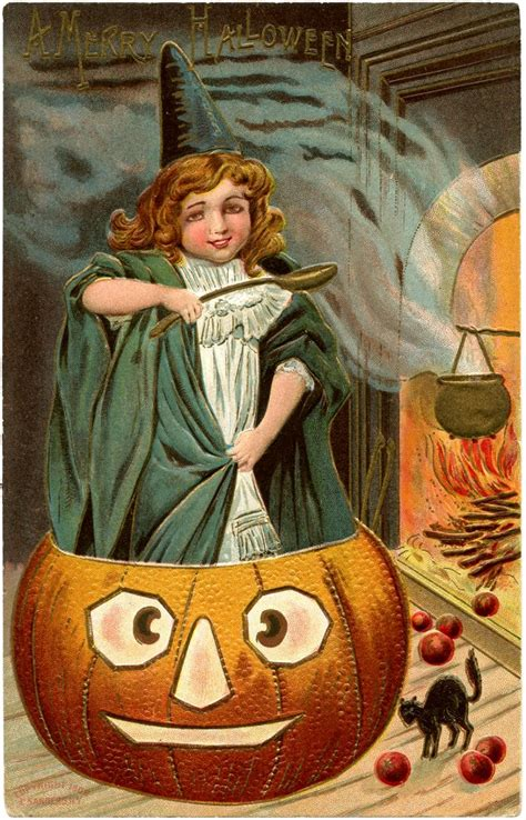 vintage halloween picture cute witch  pumpkin