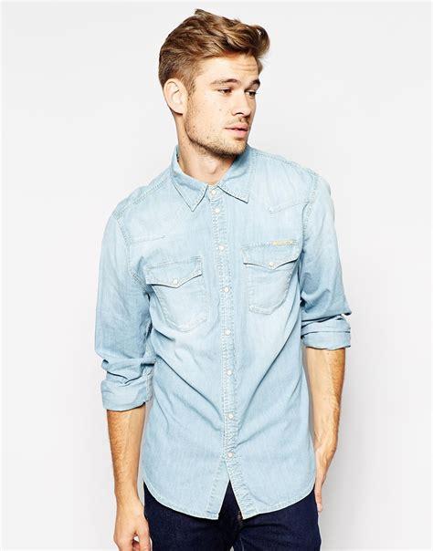 light denim shirt mens pepe pepe denim shirt carson western slim fit light