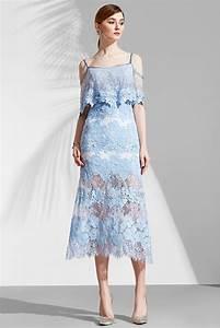 Robe Mariage Dentelle : robe dentelle bleu pastel florale avec fines bretelles ~ Mglfilm.com Idées de Décoration