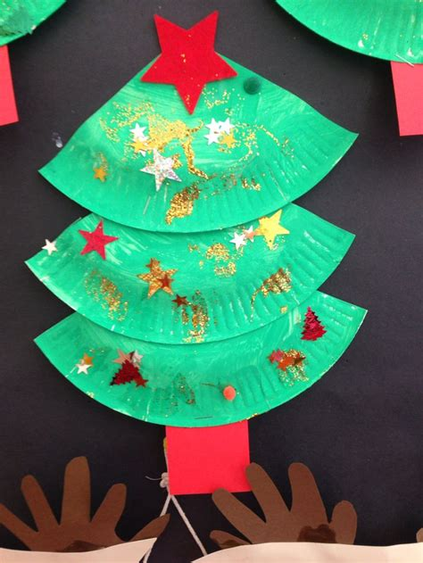 christmas tree craft using painted paper plate my