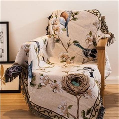 American Country Style Floral And Bird Sofa Throw Blanket