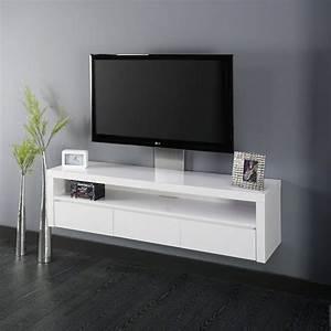 Meuble Tv Suspendu Blanc : les 35 meilleures images du tableau meuble tv sur pinterest meuble contemporain et couleurs ~ Teatrodelosmanantiales.com Idées de Décoration