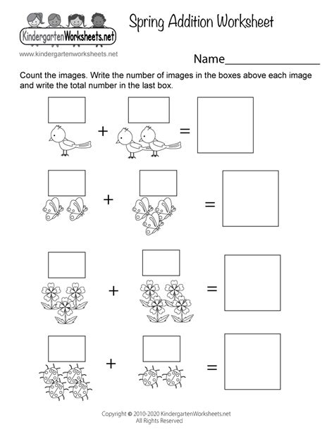 spring addition worksheet  kindergarten seasonal