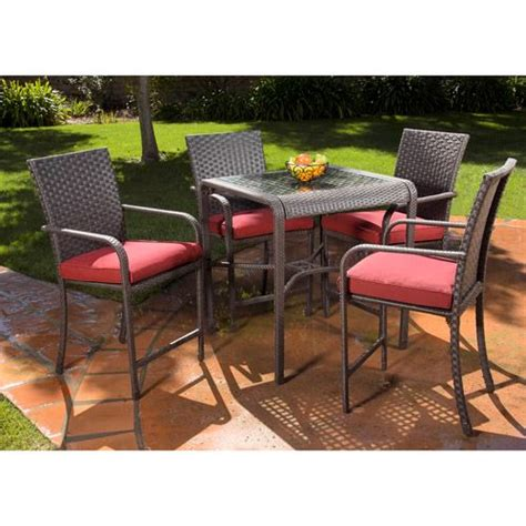 rushreed 5 piece gathering height patio dining set seats