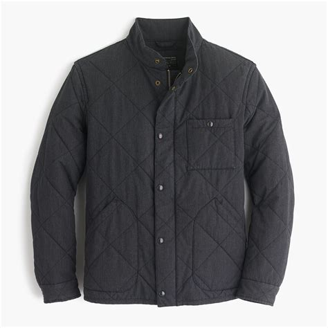 j crew quilted jacket j crew sussex quilted jacket in black for lyst