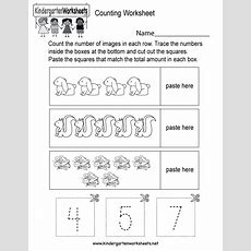 Counting Worksheet  Free Kindergarten Math Worksheet For Kids