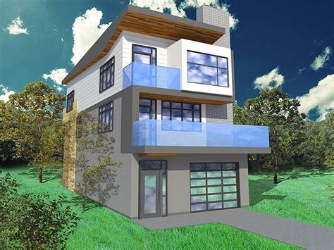 Narrow Lot House Designs by Narrow Lot House Plan 056h 0005 Modern Busy But