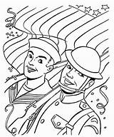 Coloring Veterans Soldiers Colouring Parade sketch template