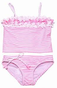 Kate Mack Girls Neon Pink White Candy Stripe Swimsuit