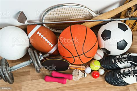 Sports Equipment On Wooden Background Stock Photo ...