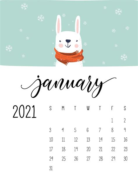 cute winter animals  calendar world  printables