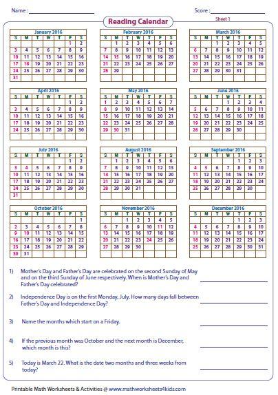 reading calendar worksheets  word problems