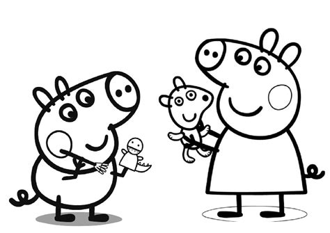 Peppa Pig and George Playing with Toys Peppa Pig Coloring
