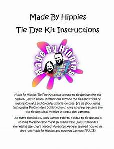 Made By Hippies Tie Dye Kit Instructions 24 Pages 594kb  Pdf