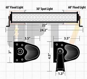 C1 22 U0026quot   Inch  Led Light Bar Dimensions Combo Spot  Flood