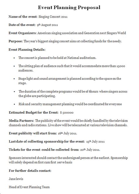 sample event planning proposal event planning proposal