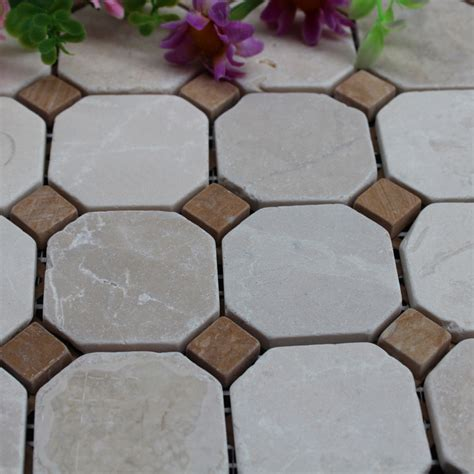 stone mosaic tile square brown patterns washroom wall