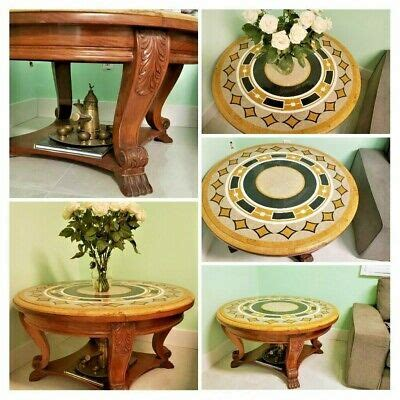 I've been searching for a small round coffee table for awhile. TOP STONE MARBLE ROUND COFFEE TABLE SOLID WOOD BASE | eBay