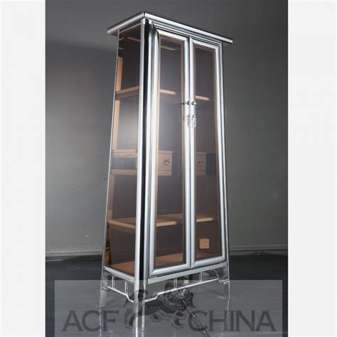 contemporary asian stainless steel  glass cabinet  chrome
