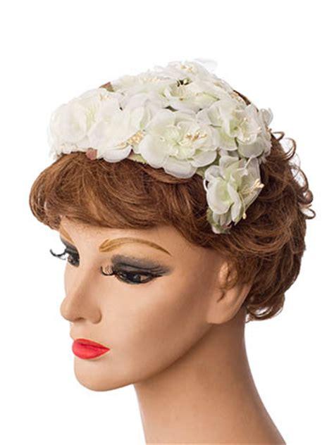 vintage white flower  hat bridal hats blue velvet