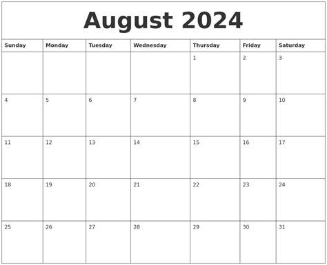 august  editable calendar template