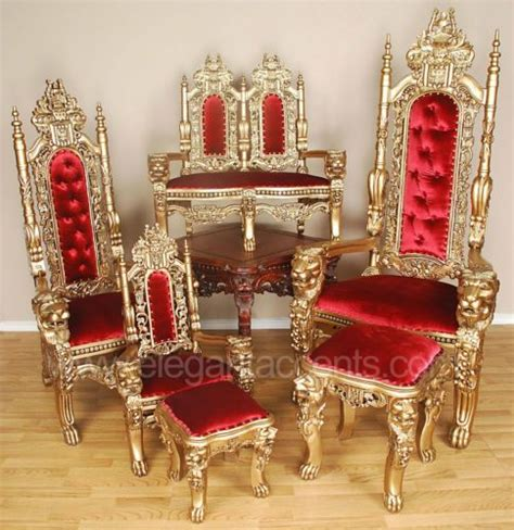 carved mahogany king throne chair gold