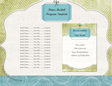 piano recital program template new template for recital program i lime green for anyone else this printable