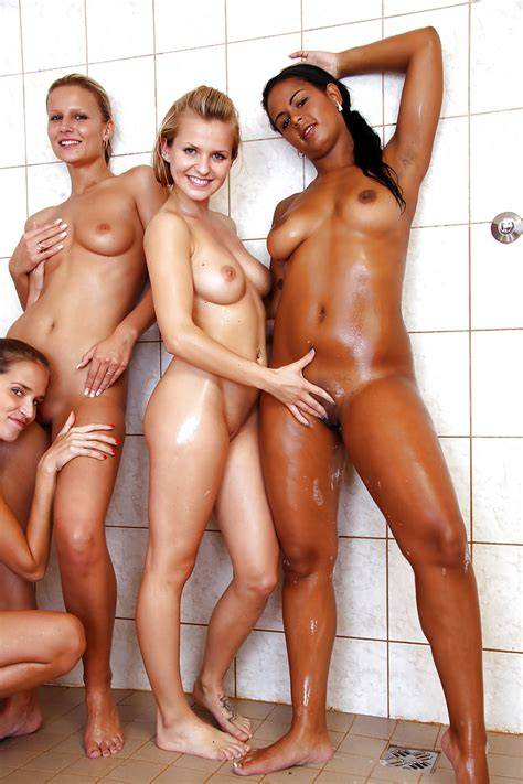 Seductive Teen Babes Are Into Hot Lesbian Groupsex In The Shower
