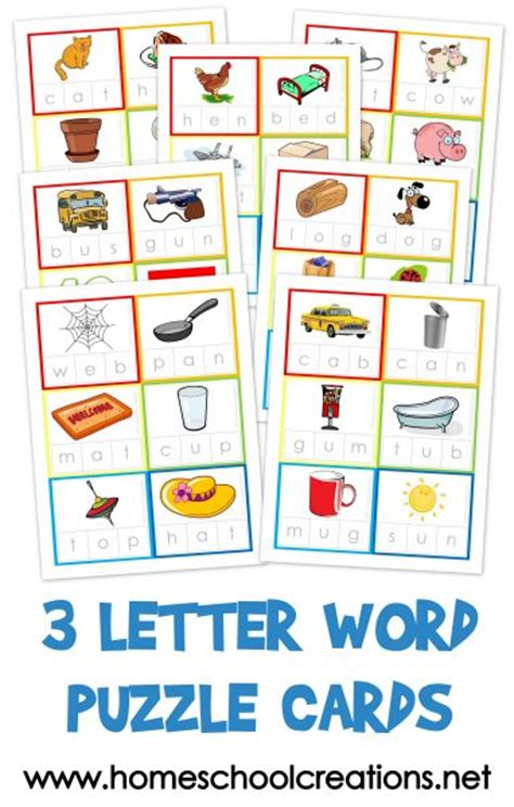 three letter word cards free printable 101 | 3 Letter Word Puzzle Cards 382x600