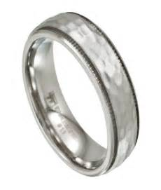 stainless steel wedding bands mens stainless steel wedding band hammered finish