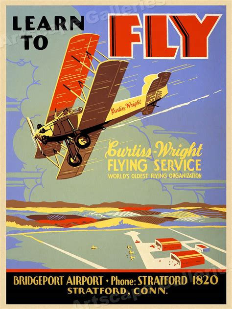 flying lesson poster learn  fly vintage style