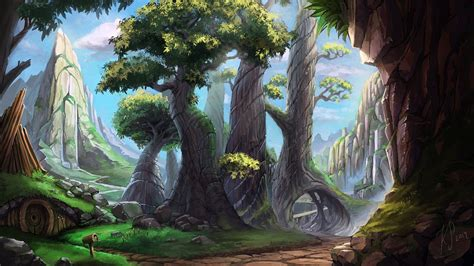 wallpaper trees landscape drawing painting forest