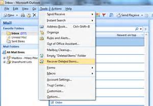 restore  find deleted email  outlook