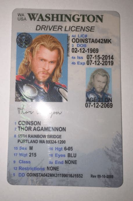 washington fake under license drivers wa scannable print example ids novelty