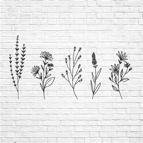 wildflowers svg floral svg wild flower svg flower sketch svg cricut silhouette instand