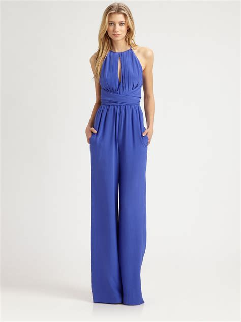 wrap jumpsuit l 39 agence silk cummerbund wrap jumpsuit in blue electric