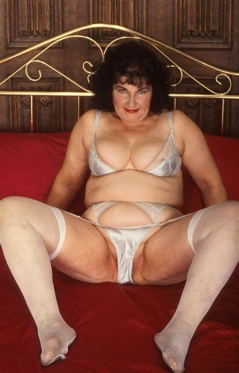 Extreme old granny in stockings shows her wrinkly aged ...